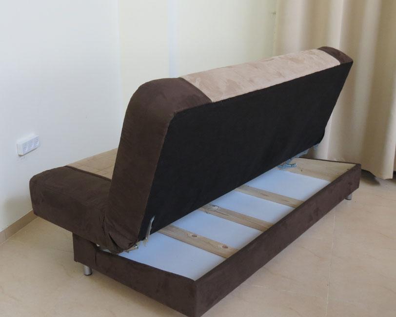 ספת ספר מעוצבת מבד מטריקס נפתחת בקלות למיטה אורטופדית דגם סנונית