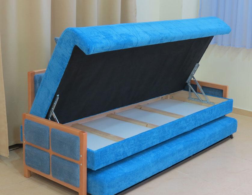 """ספת נוער נפתחת למיטה כפולה ע""""י מנגנון אפ קל מרופדת בבד קיו דגם טליה"""