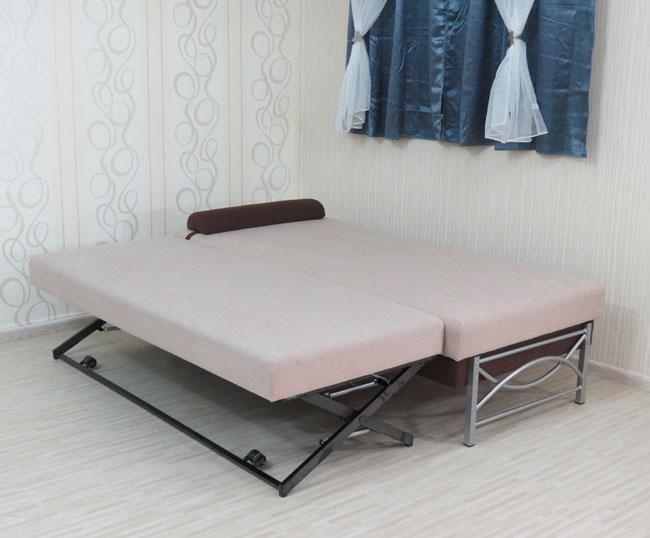 """ספת נוער רוחב 90 ס""""מ אשר נפתחת למיטה כפולה ע""""י מנגנון אפ קל הכוללת ראש מתכוונן דגם פאן"""